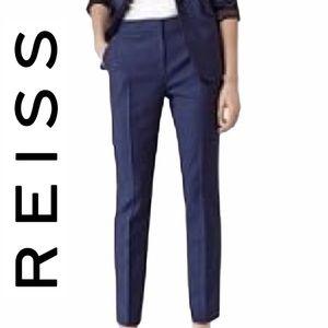 Reiss Navy Blue Wool & Mohair Trouser Dress Pants